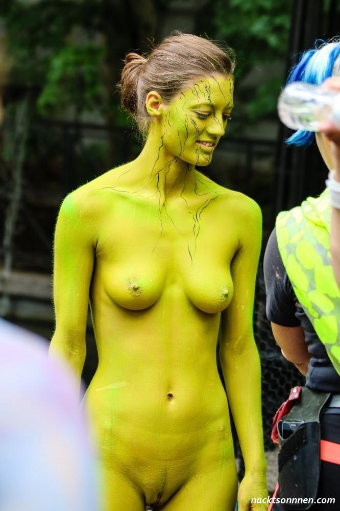 Three topless girls body paint boobs flash pics, public flashing pics