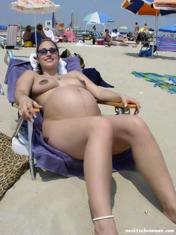 Strand schwangere nackt am Schwangere, nackte